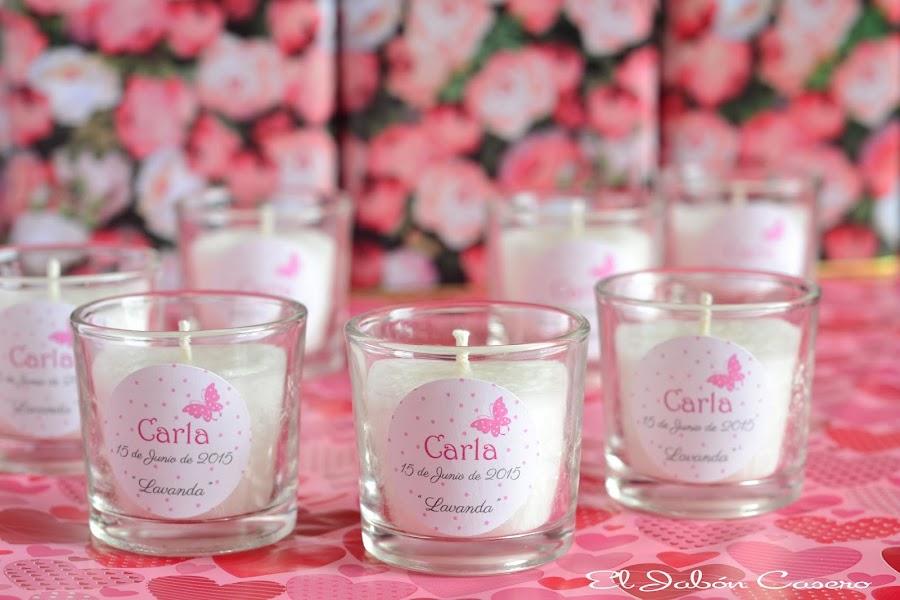 detalles de bautizo velas aromaticas lavanda