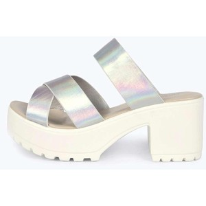 Ellie block heel cleated metallic mule from Boohoo