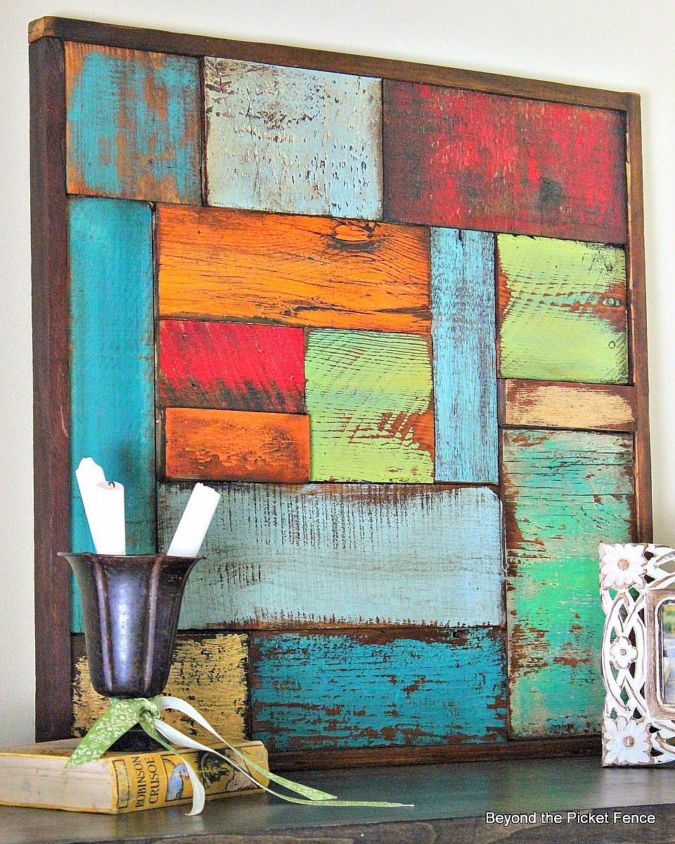salvaged wood art http://bec4-beyondthepicketfence.blogspot.com/2014/05/salvaged-wood-art.html