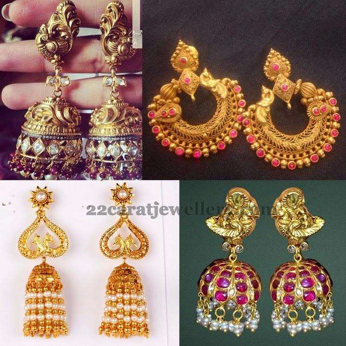 Gold Chandbalis And Antique Jhumkas Jewellery Designs