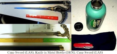 A knife was discovered wrapped in a towel and concealed in a water bottle at Denver (DEN). The passenger admitted they were trying to sneak it past our officers.         Two cane swords were discovered at Las Vegas (LAS).         A knife was found concealed inside a hollowed out book at Kahului (OGG).         Marijuana was discovered taped inside of a book after a checked baggage alarm at Philadelphia (PHL).         Brass knuckles were discovered concealed under multiple rolls of quarters in a gift box at Philadelphia (PHL). The passenger admitted they were trying to sneak it past our officers.