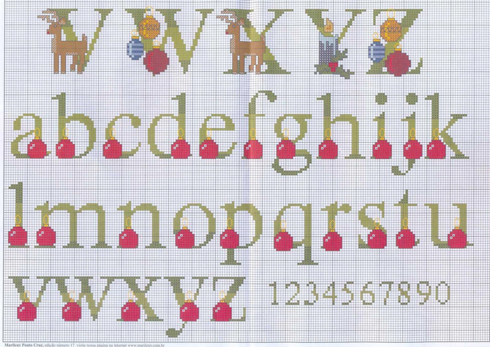 gráficos ponto cruz alfabeto de natal gráficos ponto cruz alfabeto