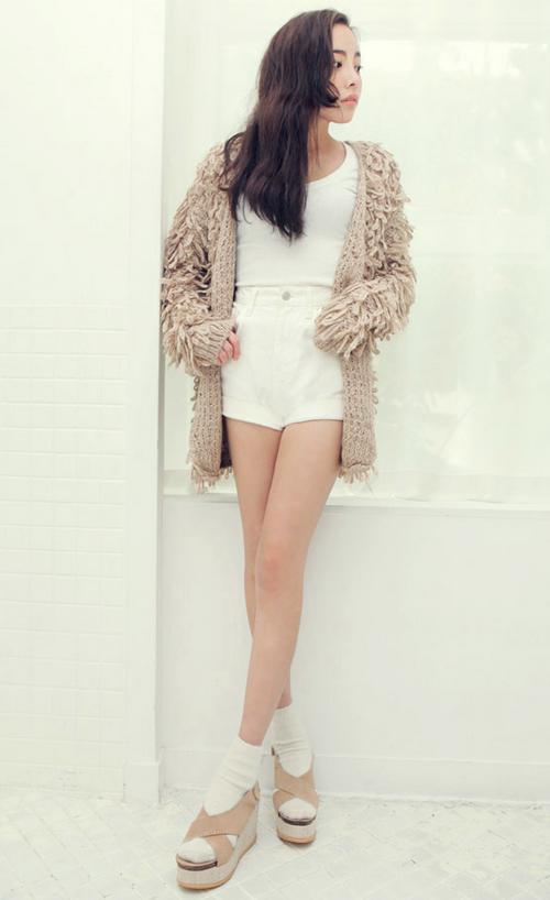 Knitting Pattern For Ladies Loopy Cardigan : [Stylenanda] Loopy Knit Cardigan KSTYLICK - Latest Korean Fashion K-Pop S...