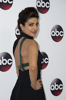 Priyanka Chopra in sexy cut out dress at the Disney ABC Television 2016 Winter TCA Tour red carpet photo