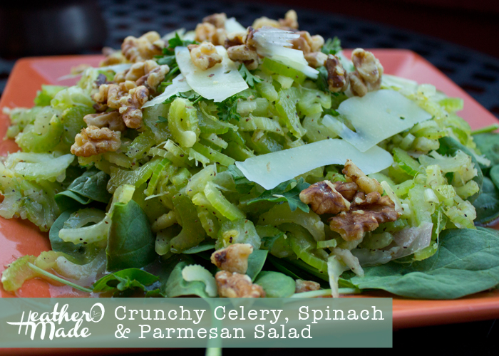 Heather O Made: Crunch Celery, Spinach & Parmesan Salad