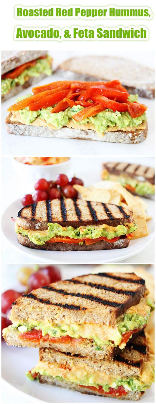 Roasted Red Pepper Hummus,Avocado,&Feta Sandwich