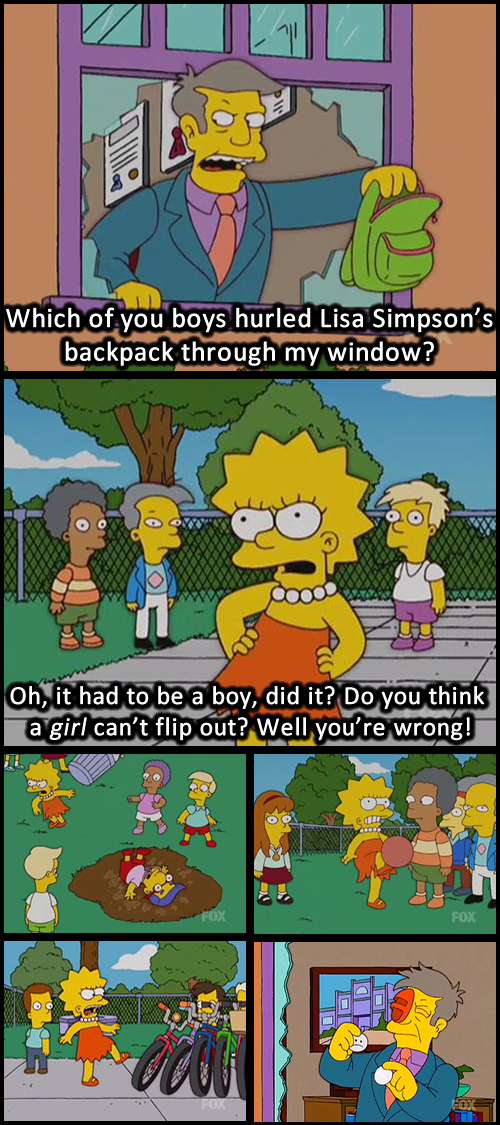 """gender roles in the simpsons They are doing so gender stereotypes occur when generic attributes, opinions or  roles have  for example the famous cartoon """"the simpsons"""" conspiciously."""