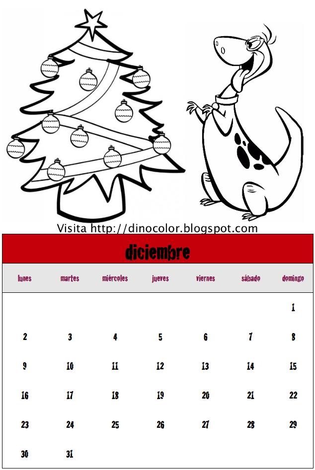 Dinosaurios para colorear: Calendario de dinosaurios 2013: Diciembre
