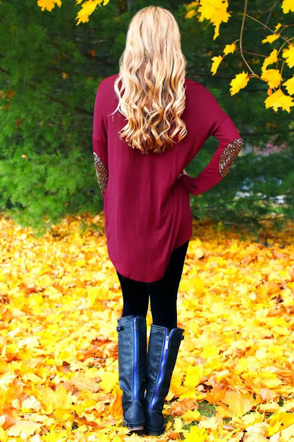 Cardinal Color Long Sleeve Shirt With Black Leging And Black Leather Boot