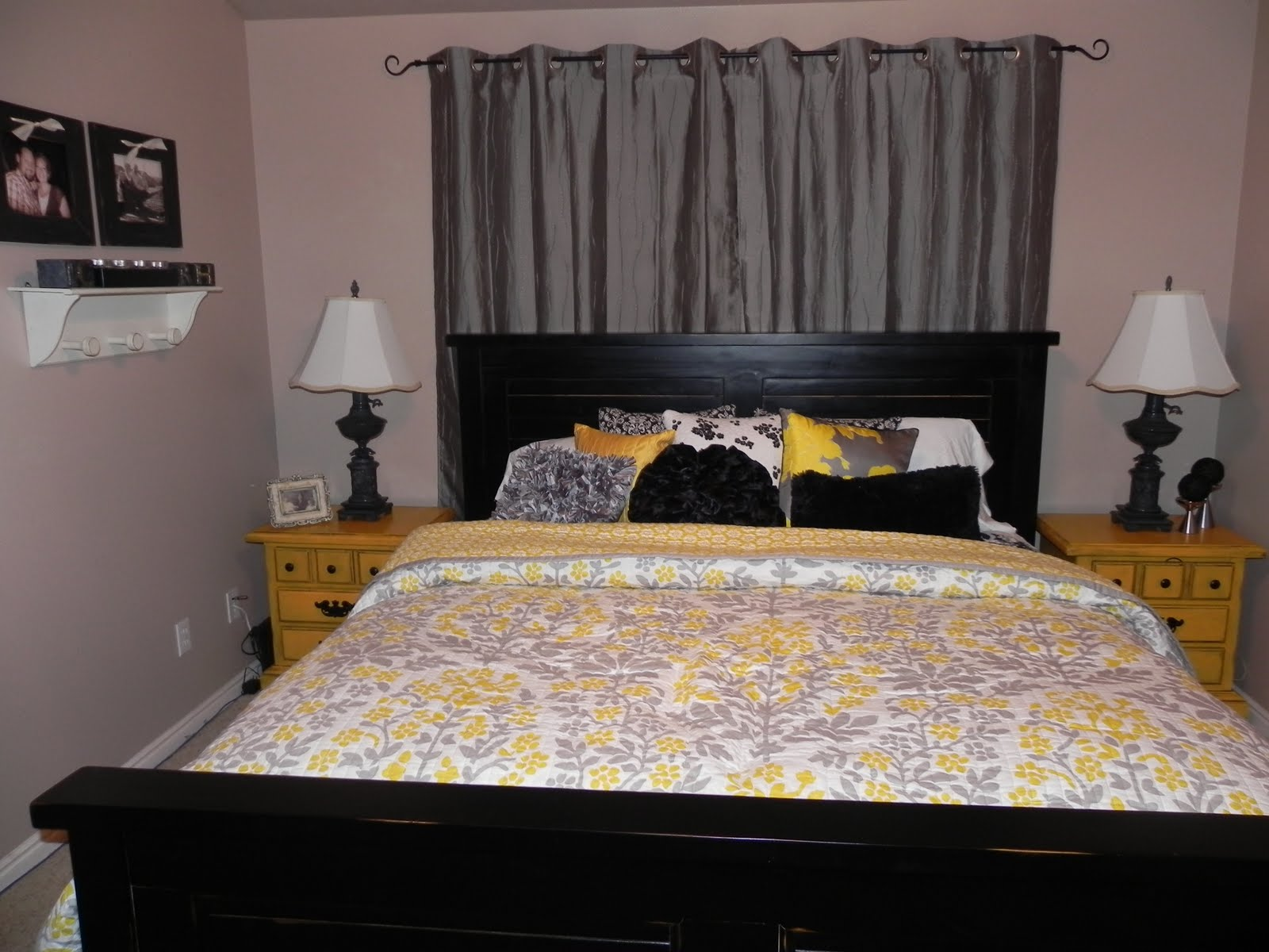 Yellow and gray master bedroom by chelsea feature friday for Gray and yellow bedroom