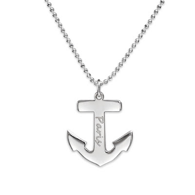 Sterling Silver Engrave Anchor Necklace