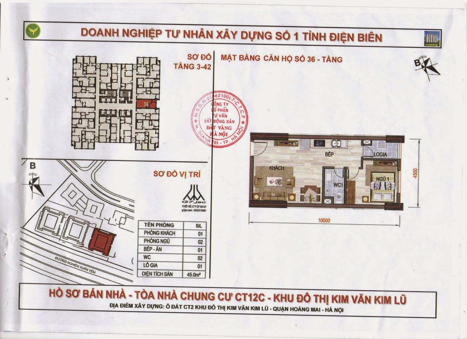sơ đồ căn hộ chung cư kim văn kim lũ