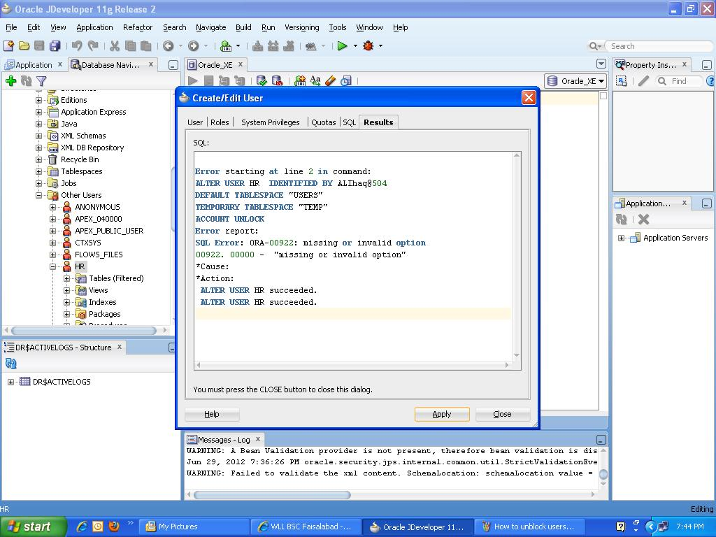 Java web development how to register oracle database xe with oracle how to register oracle database 11g xe with oracle jdeveloper and edit unblock the database baditri Gallery