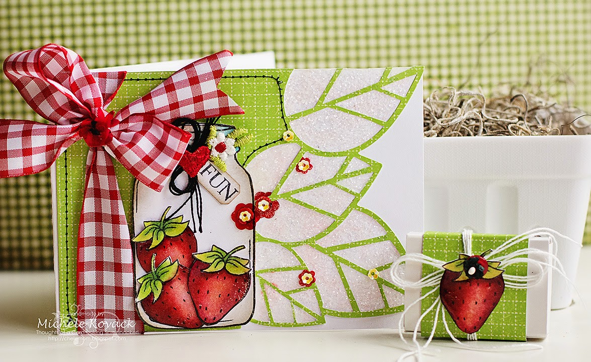 SRM Stickers Blog - Strawberry Stamped Card by Michele - #card #stamped #janesdoodles #srmstickers #DIY