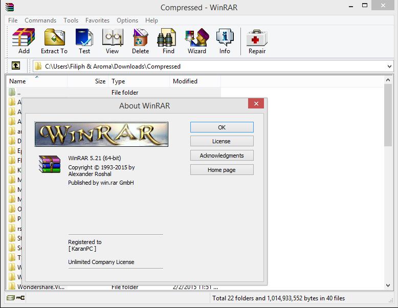 WinRAR v5.21 Final (x86/x64) incl Key Activation Screen