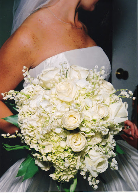 White rose, hydrangea & lily of the valley bridal bouquet - Splendid Stems Floral Designs