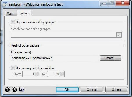 Wilcoxon Rank Sum Test filter STATA