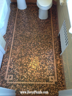 penny floor, penny tile floor for bathroom