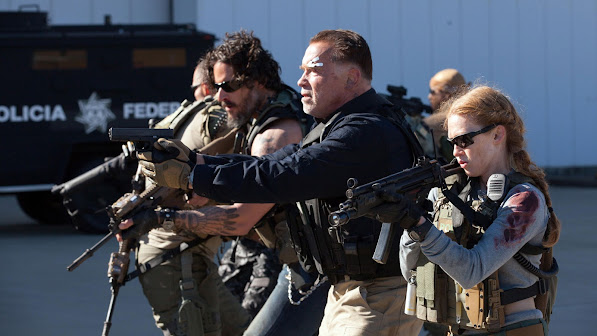 arnorld schwarzenegger as john 'breacher' wharton , joe manganiello as grinder , mireille enos as lizzy