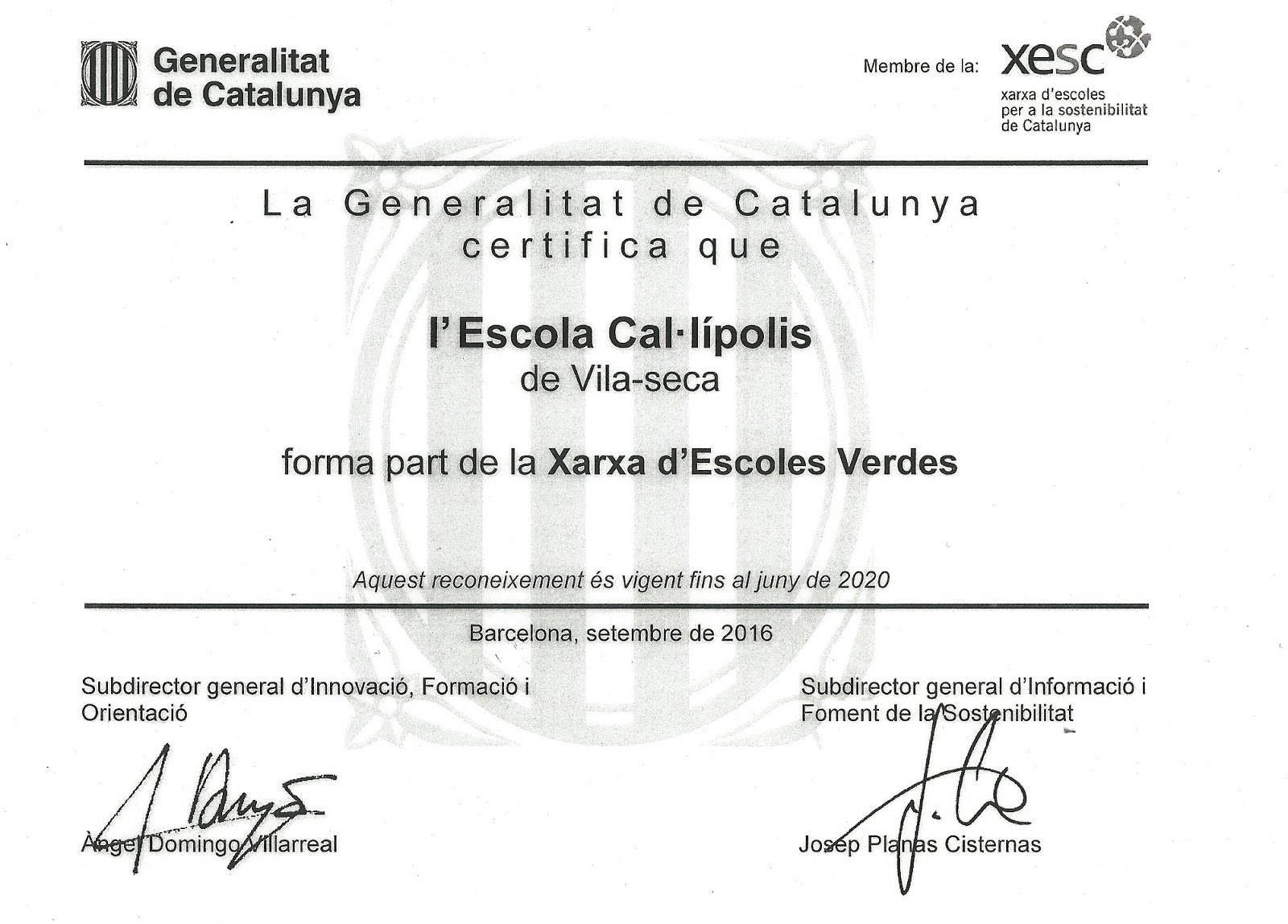 Certificat E. Verda