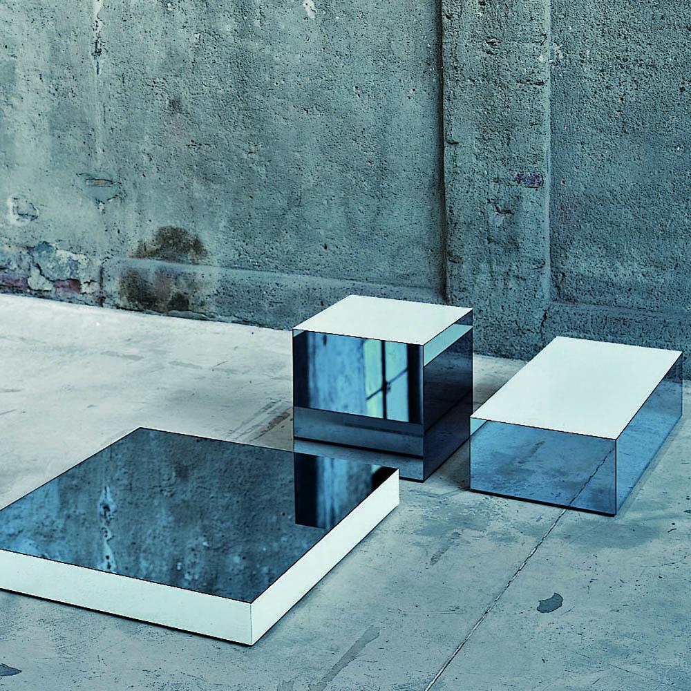 Sleek Domino Low Mirror Coffee Table Mirrored Glass Furniture