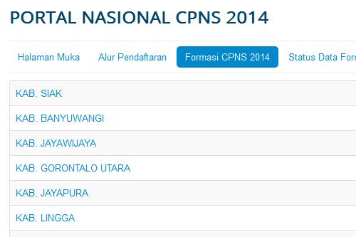 Pengumuman formasi CPNS tahun 2014 seluruh Kabupaten/Kota se-Indonesia..