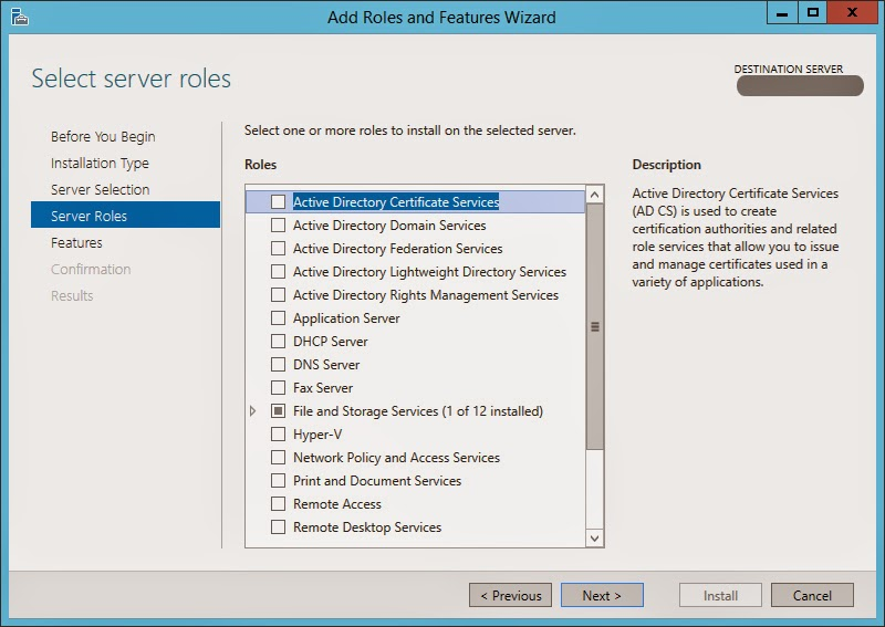 Cloud-Server-Fenster 2012 Kern installieren oder führen