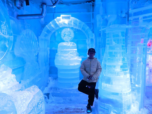 Serene next to the ice Buddha