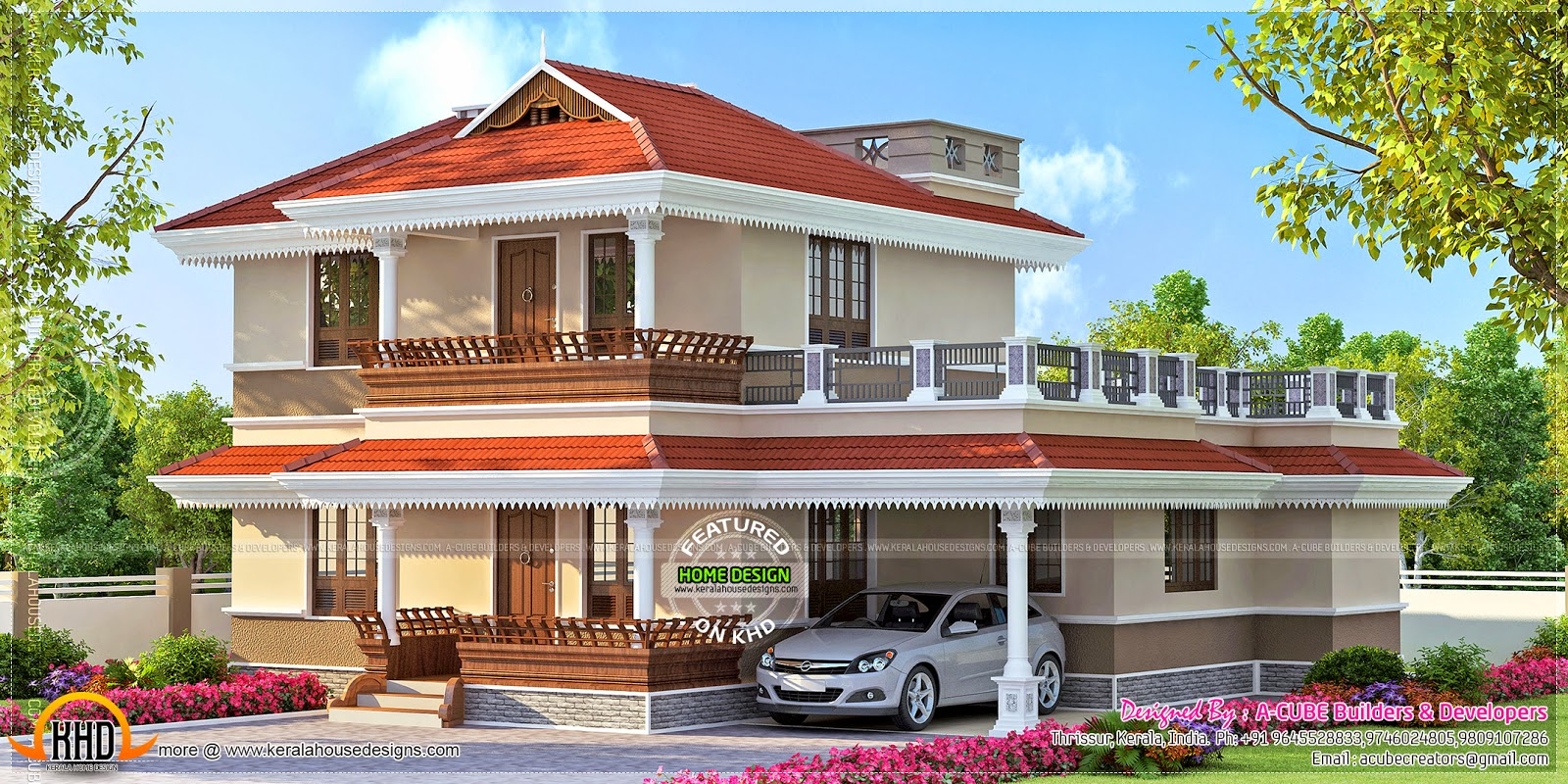 190 square meter kerala model house kerala home design for Simple house elevation models