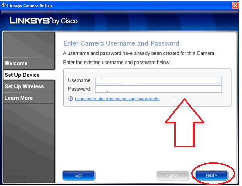 secure Linksys camera with username and password