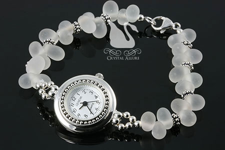 Black Frost Sterling Bali Beaded Watch (W012)
