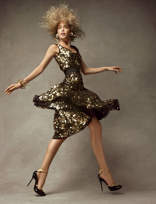 Doutzen Kroes in gold Lanvin by Alber Elbaz dress in Vogue US December 2007 (photography: Patrick Demarchelier)