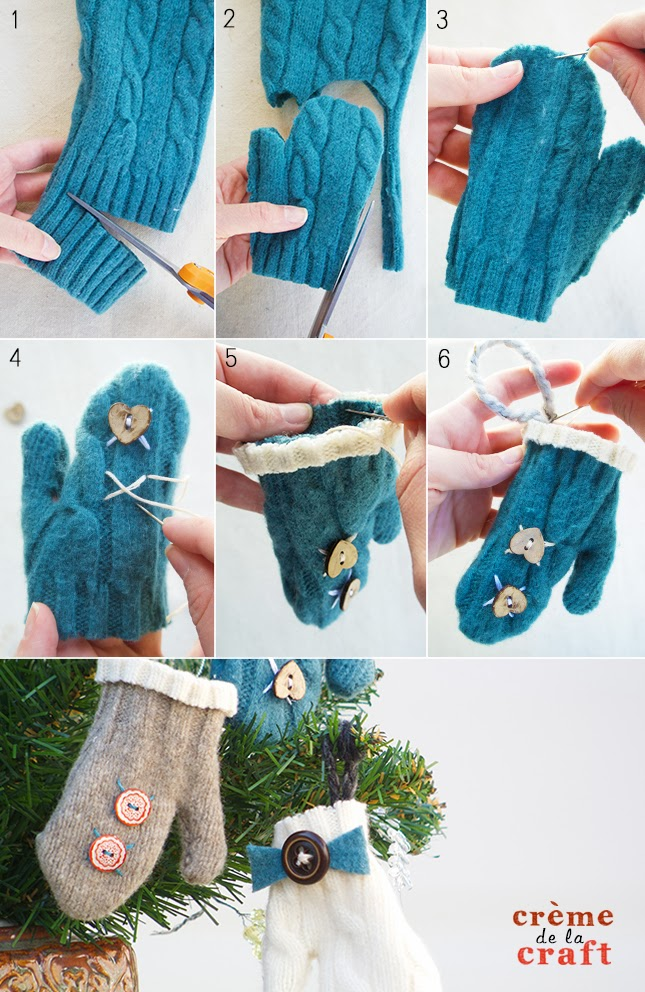 Diy mini mitten ornaments from an old sweater for Handmade things step by step