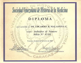 INDIVIDUO DE NÚMERO DE LA SOCIEDAD VENEZOLANA DE HISTORIA DE LA MEDICINA