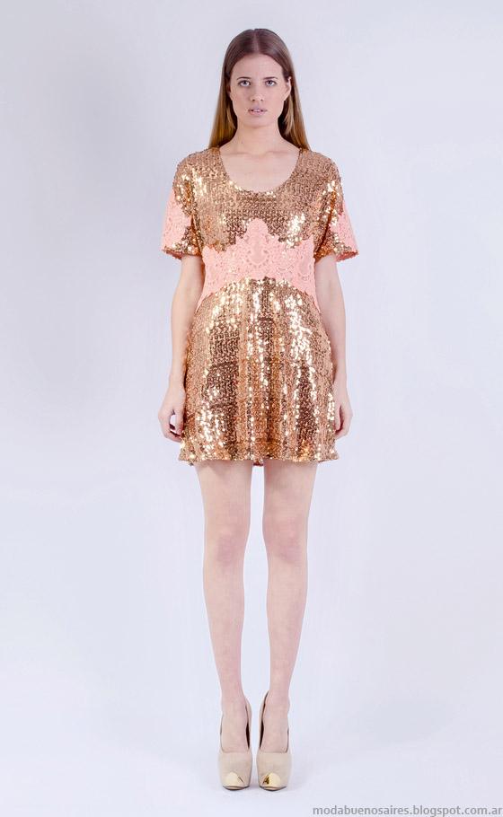 Vestidos cortos dorados 2015 Natalia Antolin.