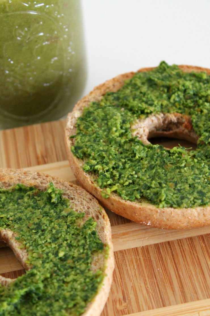 The Perfect Green Snack- Pesto whole wheat bagel + green juice