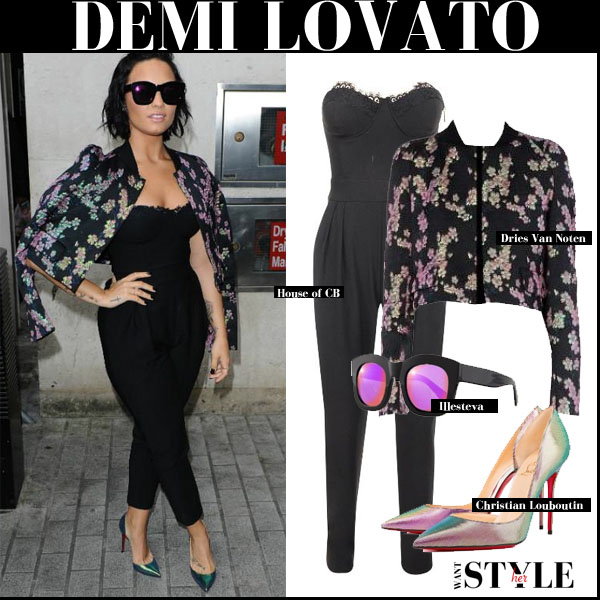 Demi Lovato in black bustier jumpsuit and floral print dries van noten bangalore jacket what she wore september 9