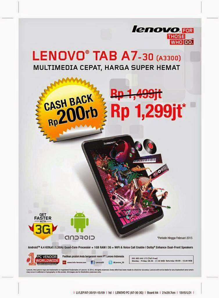 Promo Lenovo A3300 3G tab murah bisa untuk telepon harga Rp 1.299.000