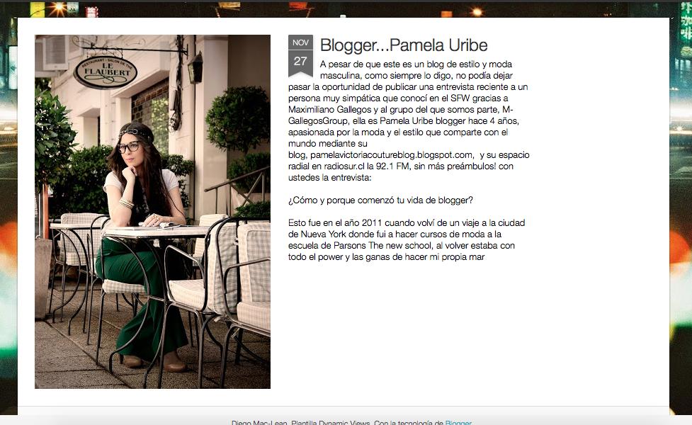 Entrevista a pamela victoria fashion blogger chile - pamelavictoriacoutureblog.blogspot.com