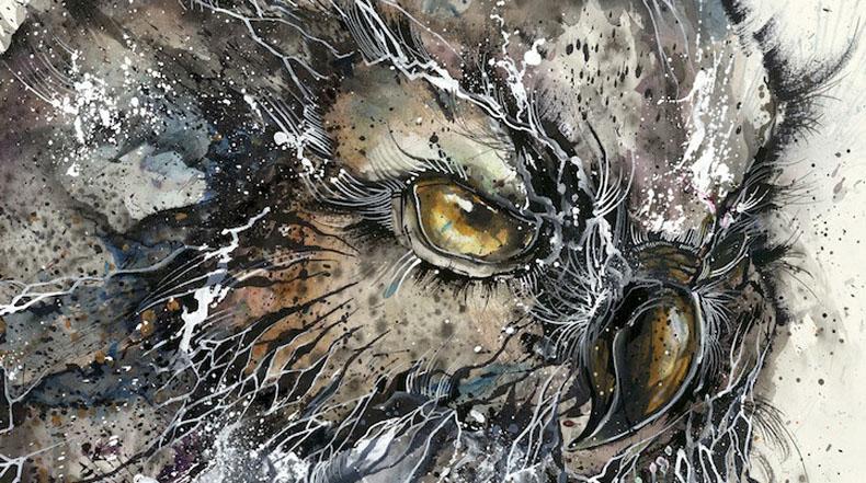 Magnífica Ilustración de búho creado con vividas salpicaduras de pintura