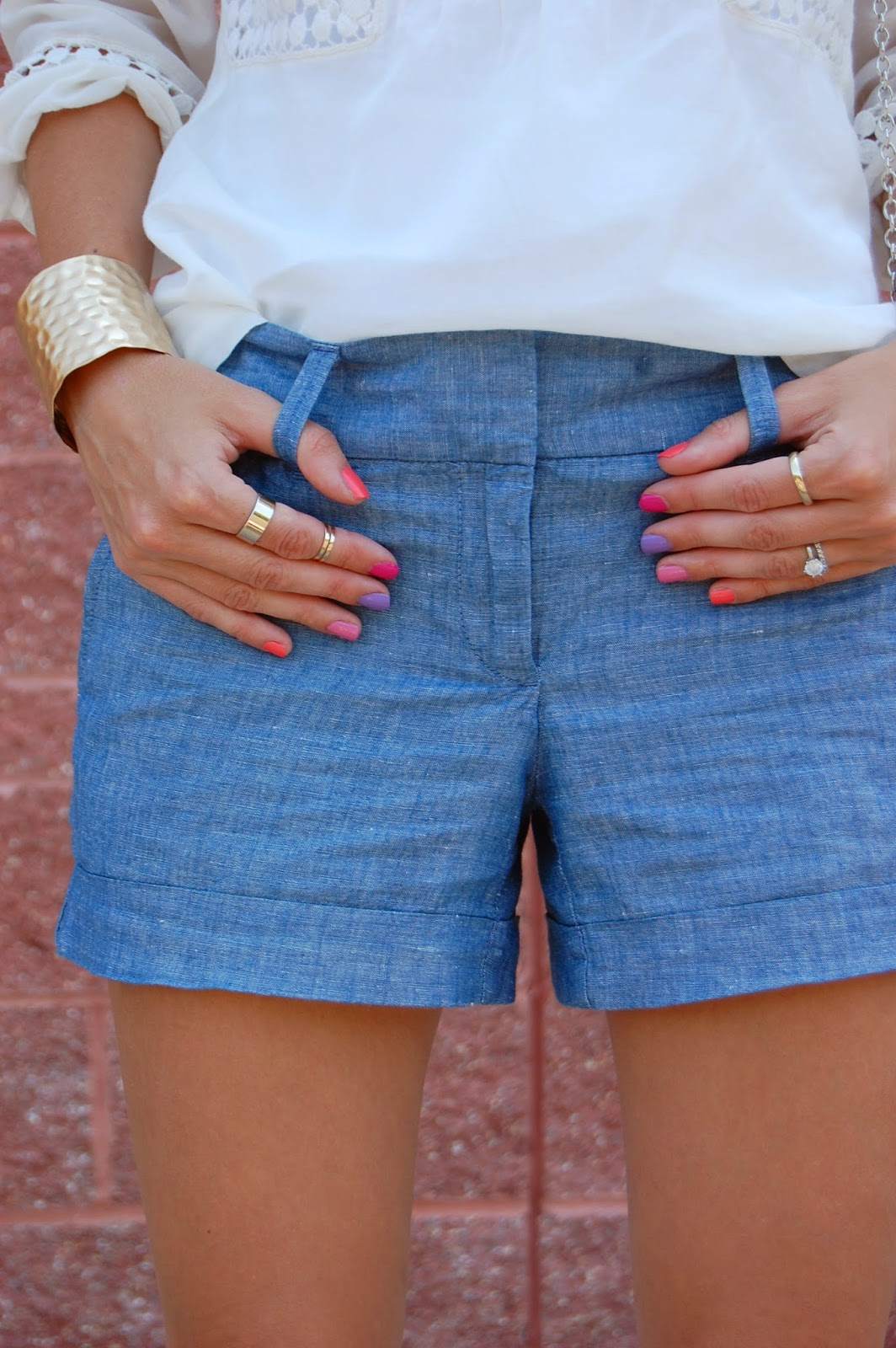 Wearing Loft Peasant Blouse, Chambray shorts, Prima Donna Gold Hathor Hammered Cuff , Wearing Blue Valentino Rockstuds, Summer 2014 looks