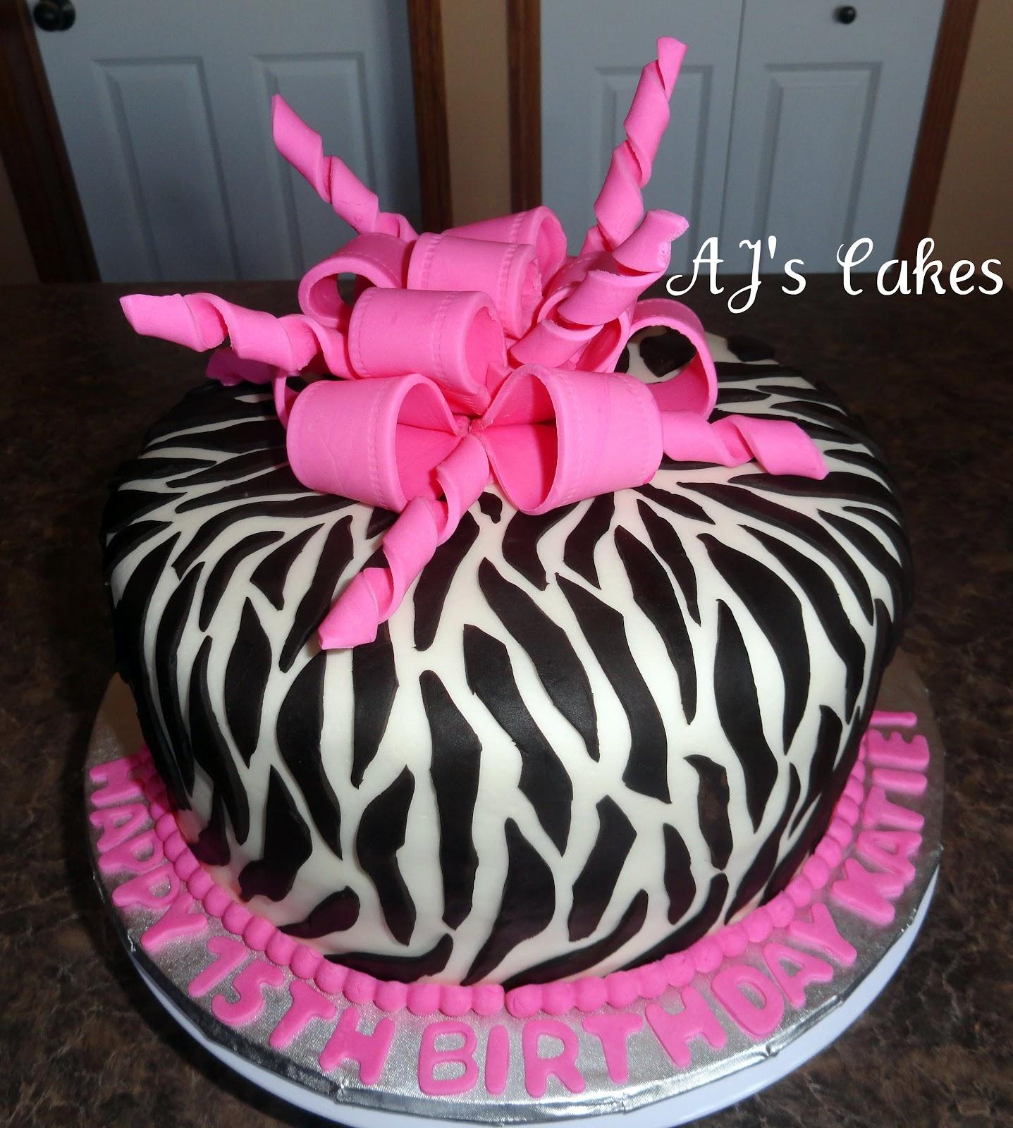 Hot Pink Zebra Baby Shower Cake