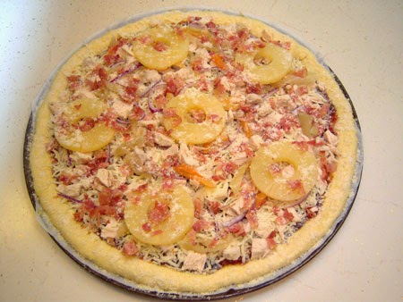Spicy Hawaiian BBQ Bacon & Chicken Pizza Recipe assembled