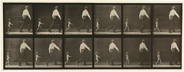 Man and child walking. Eadweard Muybridge Animal Locomotion.