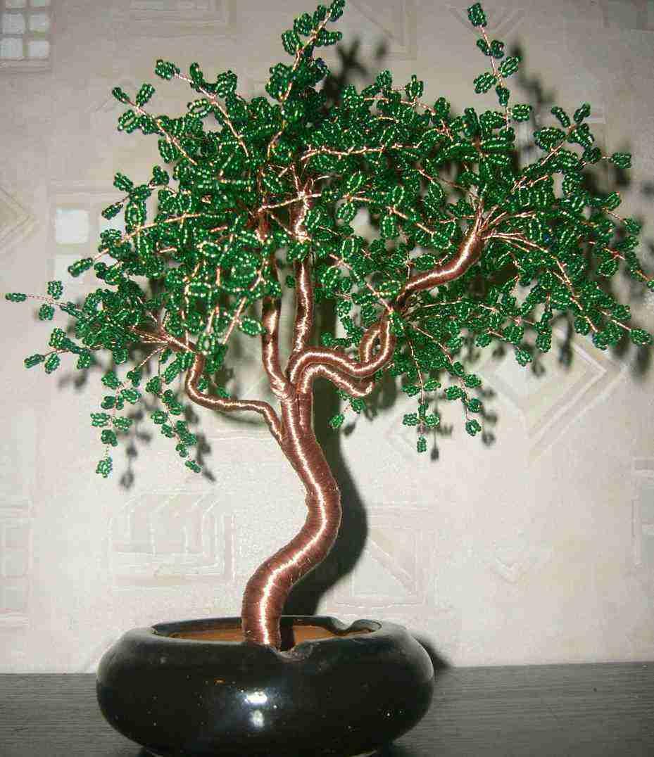 Форум полимерной глины.  Пример дерева бонсай из бисера.  Как сделать дерево из бисера.  Мастераполимернойглины.рф.