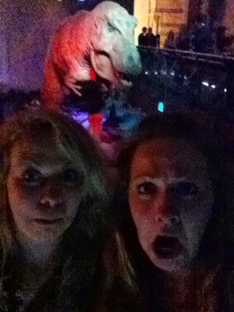 Katie and I with the moving T Rex at the Natural History Museum