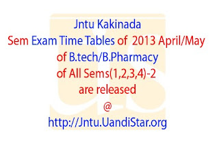 2013 Jntuk Sem Exam Time Tables
