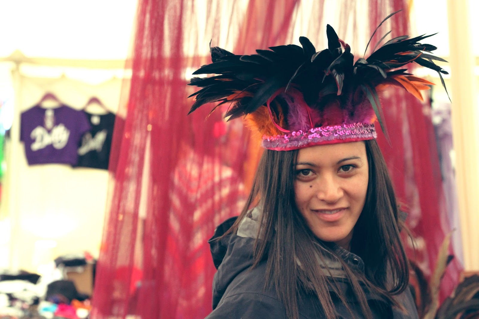 Dulcie Feather, feather headdress, festival style