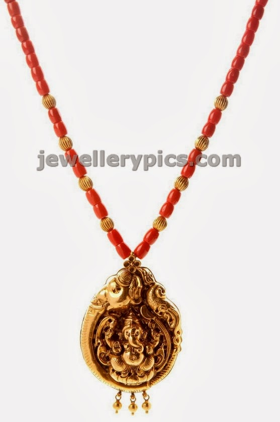 coral beads chain with ganesha nagas pendent by nac jewellers