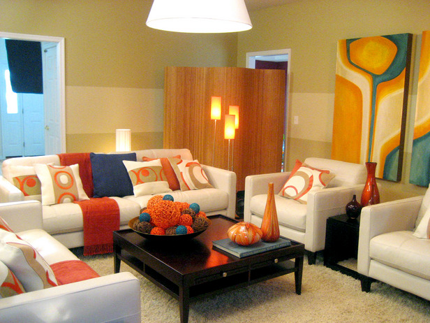 living room color schemes they work of living room color designs is using orange color only - Living Room Colour Schemes 2011